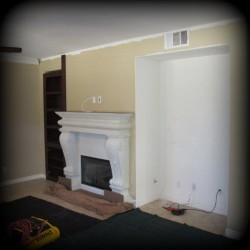 Media niche before built in wall unit