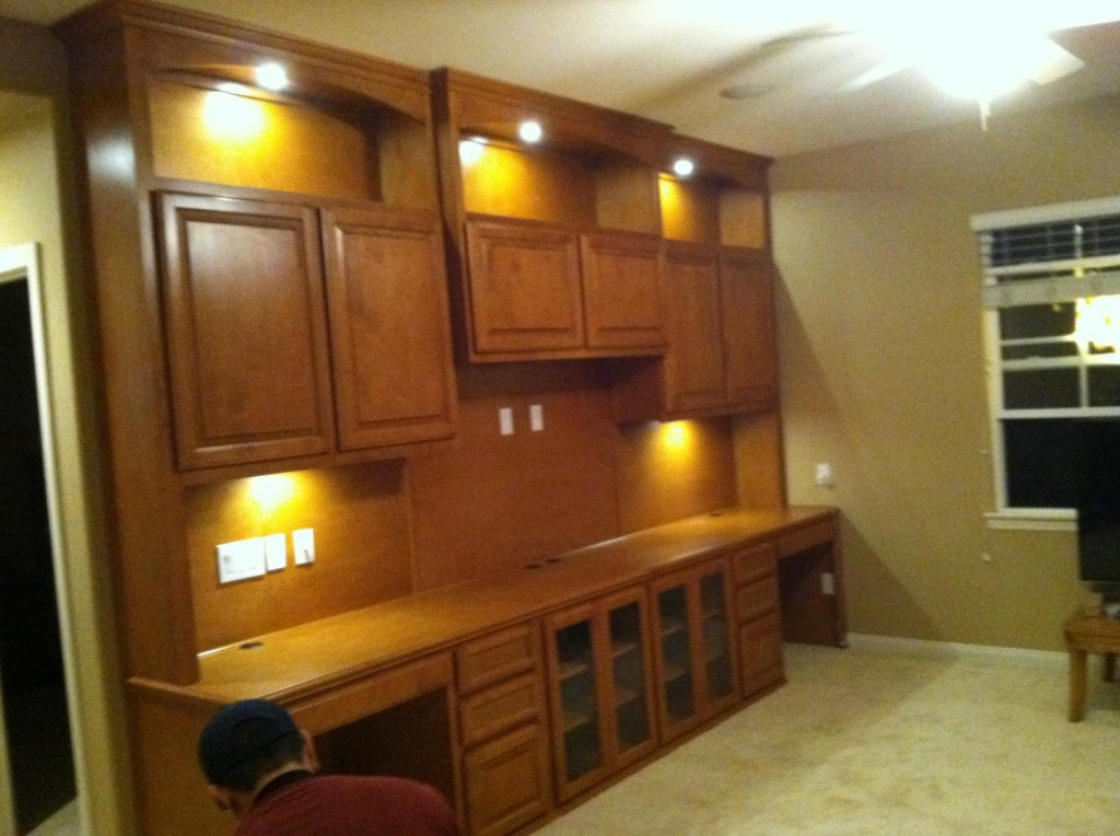 dual desk home office. Home Office Cabinets With Built In Display And Task Lighting Dual Desk