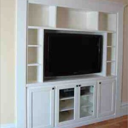 Custom entertainment center cabinet with white finish