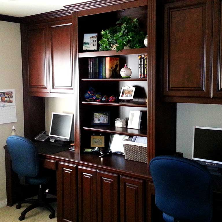 Custom home office built dual built in desks. Custom Home Office Cabinets in Southern California