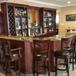 Wet bar in West Covina California with seating for ten people.