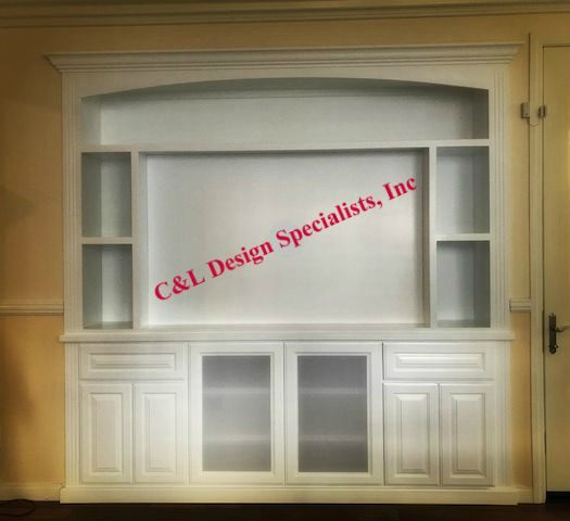 cabinets in wall alcove