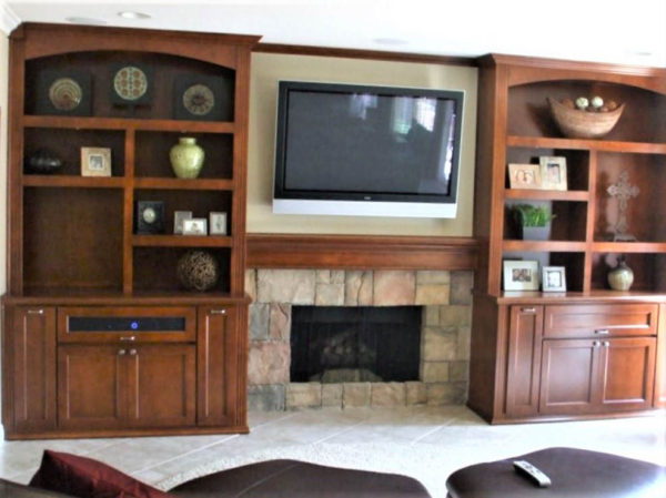 built in cabinet around fireplace c l design