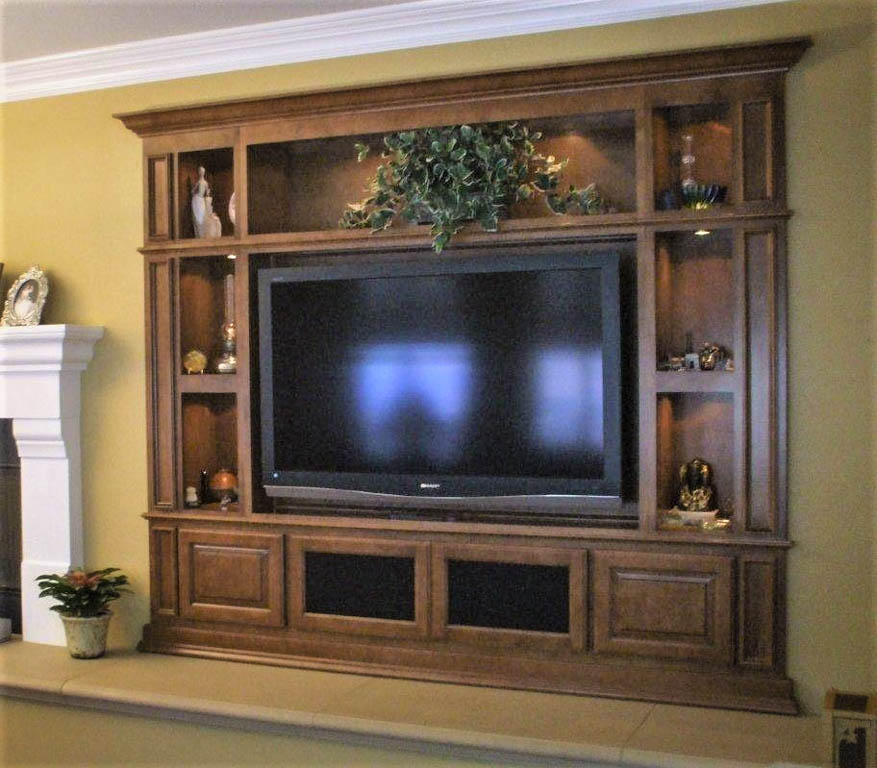 Built in custom entertainment center in white